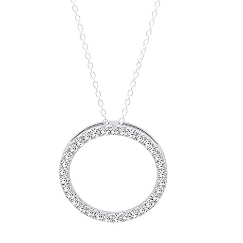 Dazzlingrock Collection 0.10 Carat (ctw) Round White Diamond Circle Pendant 1/10 CT (Silver Chain Included), 18K White Gold