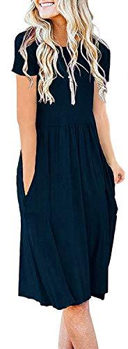 AUSELILY Women's Solid Plain Short Sleeve Pockets Empire Waist Pleated Loose Swing Casual Flare Dress Indigo (M,Navy Blue)