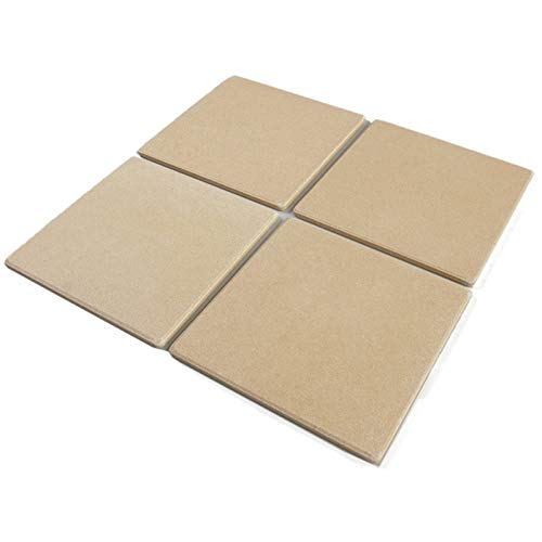 Bialetti Taste of Italy Ceramic Small Square 7.5 Inch x 7.5 Inch Personal Pizza Bread Baking Stone Tile Set (4 Pack)