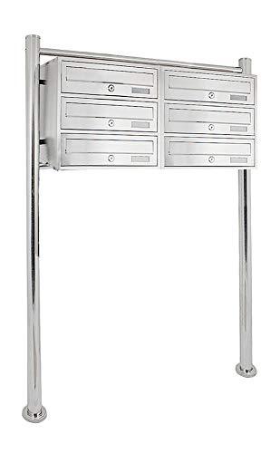 V2Aox Modern System Standbriefkasten Briefkastenanlage Edelstahl Briefkasten Postkasten Anzahl 2x3