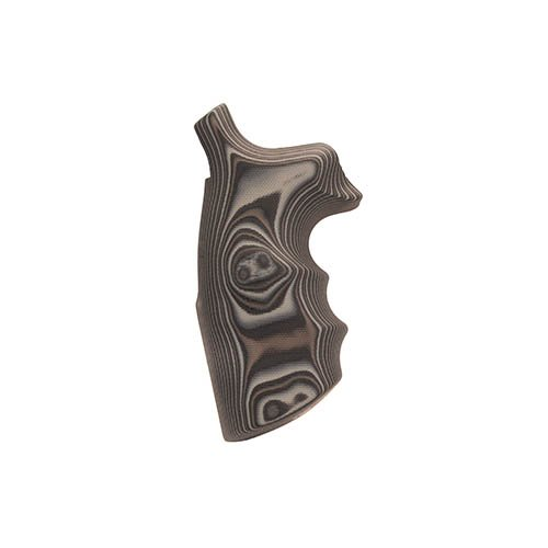 Hogue S&W N Frame Round Butt Grips, Convert Finger Grooves, Smooth G-10 G-Mascus, Black/Gray
