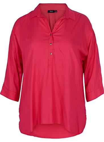 Zizzi 3/4 Arm Hemdbluse Camicia, Rosa (Pink 0393), Medium (Taglia Produttore: M 46/48) Donna