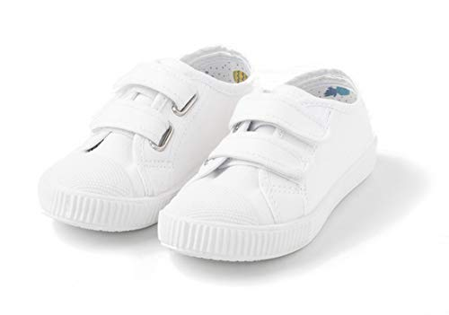 TEX - Zapatillas De Lona Velcro Unisex, Blanco Neutro, 26 EU