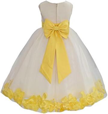 Ivory Tulle Rose Floral Petals Toddler Flower Girl Dresses Bridal Gown 302T 4 product image