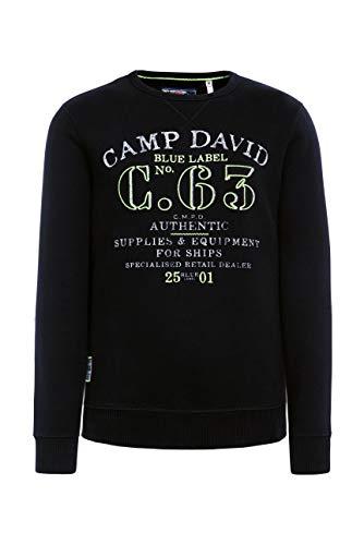 Camp David Herren Sweater mit Logo Print und Stickereien, Black, L
