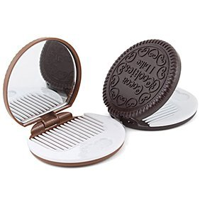 Polytree Ensemble de peignes de maquillage portables en forme de biscuit, couleur aléatoire