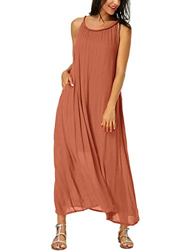 Auxo Donna Vestito Lungo Estate Abito Senza ManicheBeach Lungo Dress Beach Casual Sexy Bikini Cover Up Arancione M