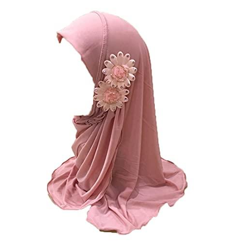 Kids Girls Ice Silk Muslim Khimar Hijab Headscarf Flower Arab Scarf Shawls Neck Wrap Islamic Head Wrap (Style 1-Pink)