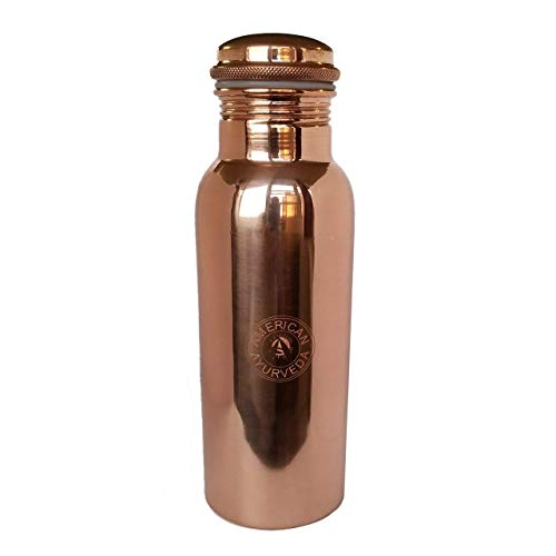 100% Pure Copper Water Bottle Joint Free, Leak Proof, Tumbler, Flask, Yoga, Health Benefits, Natural Alkaline Water, 600ml / 20oz. By American Ayurveda