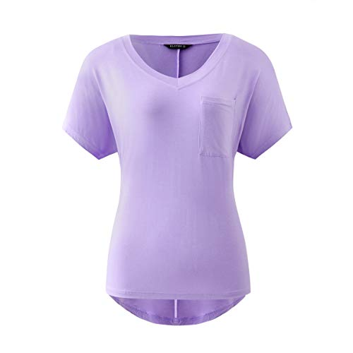 KLOTHO Plus Size Blouses Summer Casual V Neck Dolman T Shirt Loose Active Yoga Tops with Front Pockets for Women (Lavender, Small)