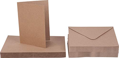 XXL-Kartenset 50 Doppelkarten Kraftpapier mit 50 Umschlägen Klappkarten A6