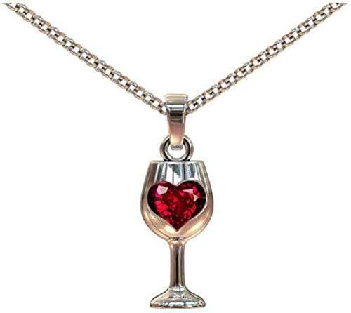 DUEJJH Co.,ltd Collar con Colgante de Copa de Vino de diseño único para Mujer, Gargantilla de circonita cúbica con corazón Rojo, Collares, Regalo del Día de San Valentín