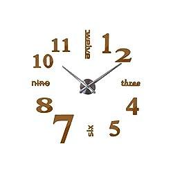 Wall Clock 2019 3D DIY Acrylic Miroir Wall Stickers Clock Watch Clocks Quartz Modern Home Decoration,Chocolate,47Inch