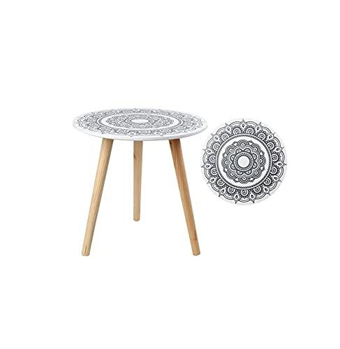 ATOSA mesa blanca mandala 40x40 cm