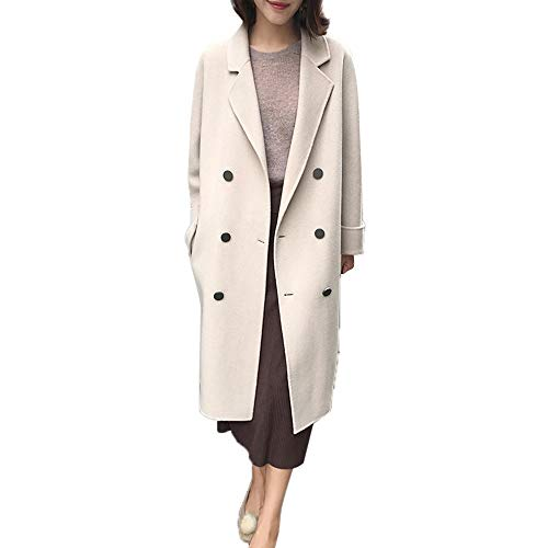 Mantel Kolylong Damen Elegant Einfarbig Wollmantel Lang Herbst Winter Warm Revers Wolljacke Slim Windjacke mit knöpfen Parka Outwear Trenchcoat Strickjacke Wintermantel Steppjacke (Beige, XL)