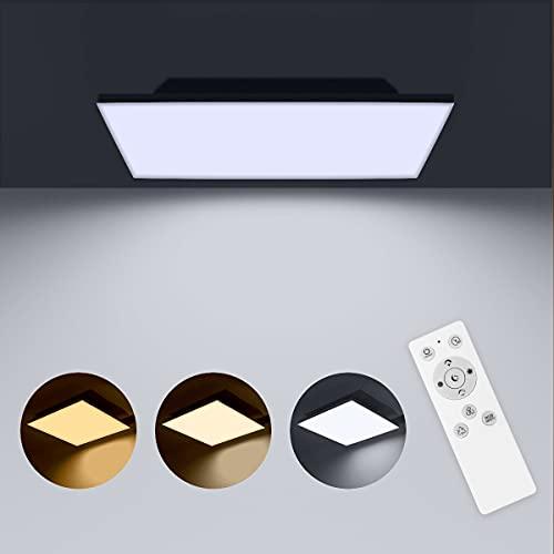 LED Panel Dimmbar mit Fernbedienung, LED Deckenleuchte Farbwechsel mit 6 RGB Farben, 36W /3000K-6500K/45x45cm, LED Deckenlampe für Büro/Schlafzimmer/Wohnzimmer