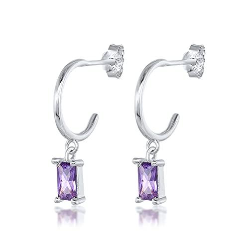 Pendiente de botón de plata esterlina S925 Pendiente de circonita púrpura romántico para Piercing de joyería de cristal Pendientes-4-Color plata