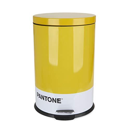 Cubo Basura Pantone Color Amarillo Cubo de 20L de Capacidad para Cocina, habitación u oficinas con Pedal Diseño Bonito y Original Reciclar Metal 44x29,2x29,2 cm