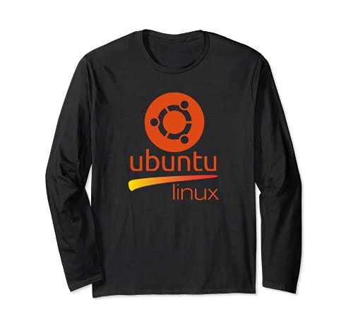Ubuntu Linux amante Tee con lema y Logo Open Source Os Manga Larga