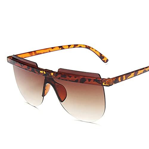 Gafas De Moda Gafas De Sol Gafas De Sol De Gran Tamaño con Semicírculo, Gafas De Sol Retro con Gradiente para Mujer, Gafas Sin Montura para Muje