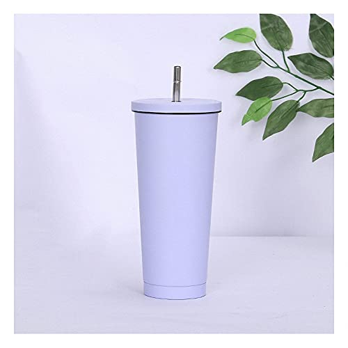 QIXIAOCYB With Straw and Flip Lid Simple Modern Classic Insulated Tumbler Stainless Steel Water Bottle Iced Coffee Travel Mug Cup, 17oz/25oz (Color : A, Size : 750ml/25oz)