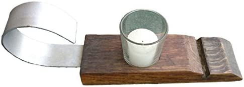 Rustic Medieval Style Wine Barrel Stave Votive Candle Holder 1 Candle in Medium Walnut Oak Wood product image
