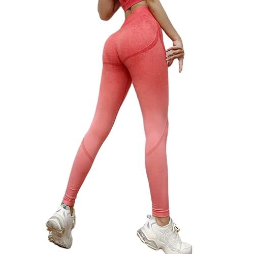 QTJY Pantalones de Yoga de Cadera melocotón de Cintura Alta sin Costuras Estiramiento Control del Vientre Gimnasio Mallas para Correr Deportes Fitness Mujer E L