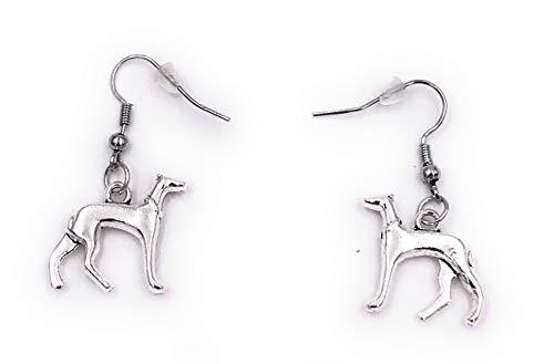 Onwomania Ohrringe Paar Hund Windhund Tier Ohrring aus Metall Ohrschmuck