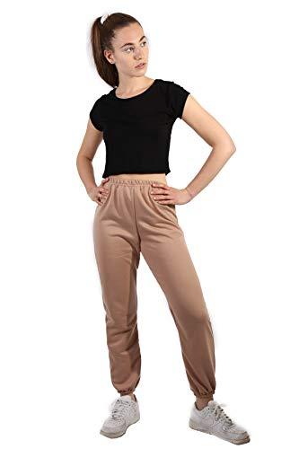 MyMixTrendz® Damen Jogginghose Oversized Jogginghose aus Molton für Frauen Gr. 38-40, Stone