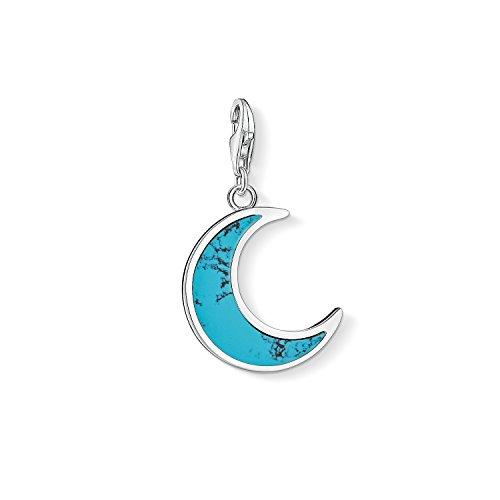 Thomas Sabo - Colgante de Mujer 'Luna turquesa Charm Club', Plata de Ley 925, Azul Turquesa