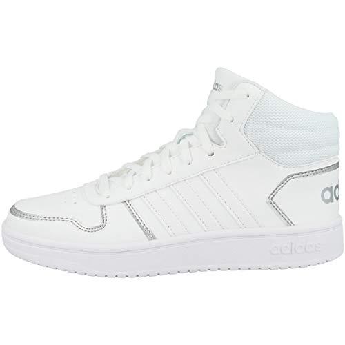 adidas Hoops 2.0 Mid, Basketball Shoe Mujer, Footwear White/Footwear White/Silver Metallic, 44 EU