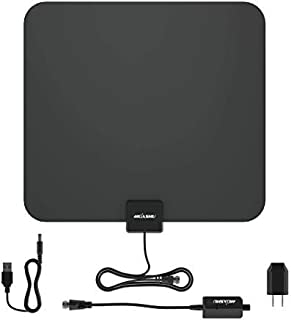 Huashu TV Antenna Digital Indoor 100 Mile Range Amplified Signal Booster Support 4K 1080P, VHF/UHF Freeview HDTV Channels and All Type Television,13ft Coax Cable