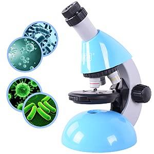 Emarth Mikroskop für Kinder und Jugendliche, Einsteiger Biologisches Mikroskop mit 40- bis zu 640-facher Vergrößerung, 50-teiliges Science Kit mit LED-Licht, Einstellbarer Halter, Slides