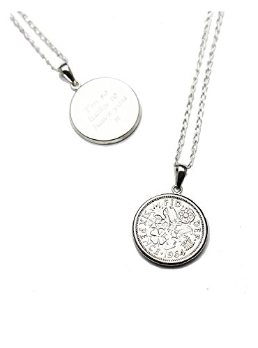 Personalised Engraved Lucky Sixpence 1960 Coin on 18' Sterling Silver Chain, Sixpence Necklace