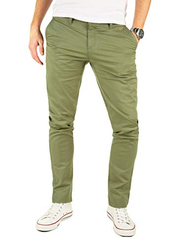 Yazubi Chino Hosen für Herren Kyle by Yzb Jeans Slim fit Business Vintage Khaki Olive Chinohose Casual Stretch, Grün (Dusky Green 4R170517), W32/L30