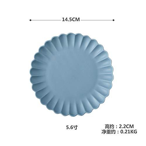 Round Western Teller Farbe Schüssel Schüssel Suppenschüssel Matte Keramik Geschirr Farbe Glasur Chrysantheme Geschirr Cyan 5,6 Zoll