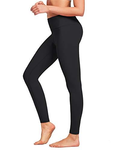 BALEAF Women's Buttery Soft Yoga Legging Squate Proof High Waist Workout Training Pants Inner Pockets Black L