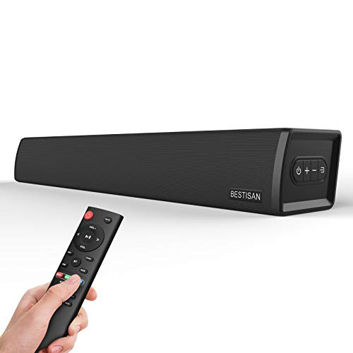 Sound Bars for TV, Bestisan 80 Watt Sound bar Wired and Wireless Bluetooth 5.0 Speaker 2.0 Channel Sound bar for TV (3 Equalizer Modes,Bluetooth/Optical/Aux/Coaxical in Connection, Wall Mountable)