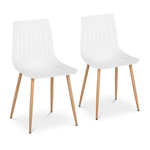 Fromm & Starck STAR_SEAT_03 Stuhl 2er Set bis 150 kg Sitzfläche 50 x 47 cm weiß Kunststoffstuhl Stuhlbeine Metall Küchenstuhl