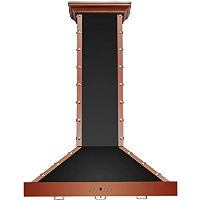 "CAVALIERE Range Hood 36"" Inch Copper Finished Brushed Stainless Steel Wall Mount - 4 Speed Soft-Touch Electronic Control Panel With LED Lighting, Stainless Steel Baffle Filters, 900 CFM"