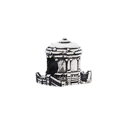 Eguzkilore Charm Plata de Ley 925 Abalorio Quiosco de La Plaza del Castillo Pamplona Compatible con Pulseras Eguzkicharm, Pandora y Otras Pulseras de Estilo Europeo