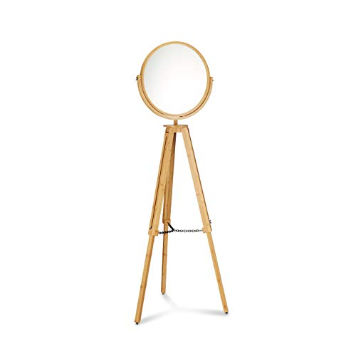 Relaxdays Standspiegel Holz, schwenkbarer Rundspiegel mit 3 ausfahrbaren Beinen, Bambus, HxBxT: 166 x 60 x 60cm, natur