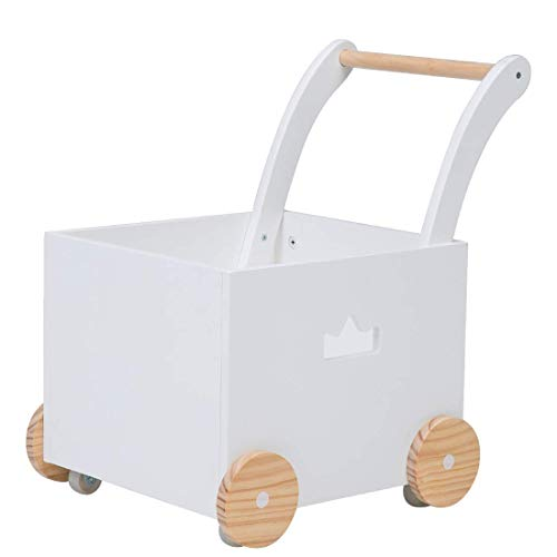 Crown Children 2-in-1 Baby Learning Walker -Toddler Baby Push Walker-Wooden Strollers with Blocks - Toys with Wheels for Girls Boys 1-3 Years Old, Wagon Toy Walkers Sturdy Construction (Square)