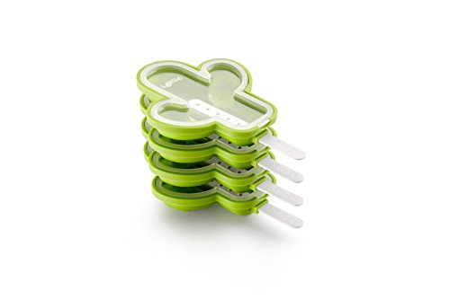 Lékué 3400264S01 Cactus Glacé Pack 4 UTS, Silicone, Vert, 18 x 12,1 x 30 cm Moldes para Helados en Forma, Verde, 18 x 12.1 x 30 cm, 4 Unidades