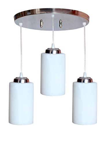 GENREE Imper!al Round Glass 3 Lights Chandelier Pendant Hanging Light for Ceiling (White and Silver)