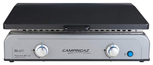 Campingaz Blue Flame LX Gasgrill mit emaillierter Grillplatte und 2 Stahlbrenner, Tischgrill mit BlueFlame-Technologie für mediterranes Grillen im Plancha, grau
