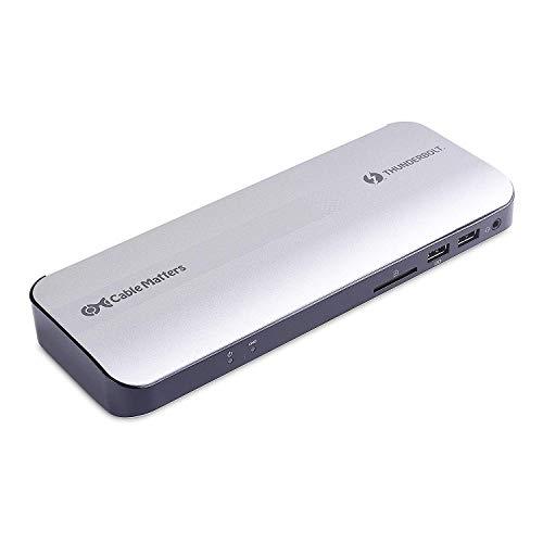 Cable Matters Certificado aluminio Thunderbolt 3 Dock con HDMI 2.0 y 60W de carga para computador portátil para PC de Windows y MacBook Pro (no compatible con puertos USB-C sin el logo de Thunderbolt)