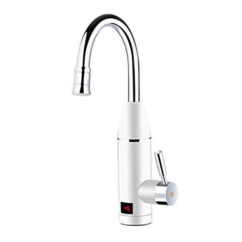 Wugonta 220V Instant Tankless Electric Hot Water Heater Faucet Kitchen Fast Heating Tap Water Faucet with LED Digital Display(Big Under Inflow)