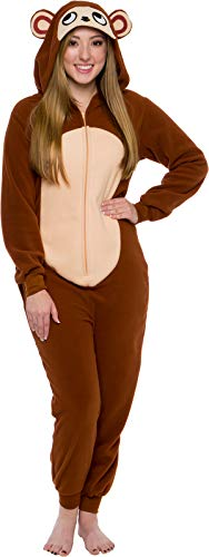Silver Lilly Slim Fit Animal Pajamas - Adult One Piece Cosplay Monkey Costume (Brown, Small)