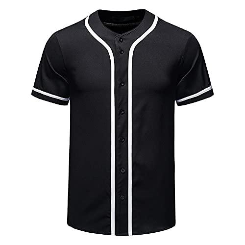 Camisa Deportiva Hombre Ocio Deportivo Cuello Redondo Manga Corta Hombre Béisbol Golf Ejercicio Correr Camiseta Hombre Verano Senderismo Delgado Hombre Shirt B-Black M